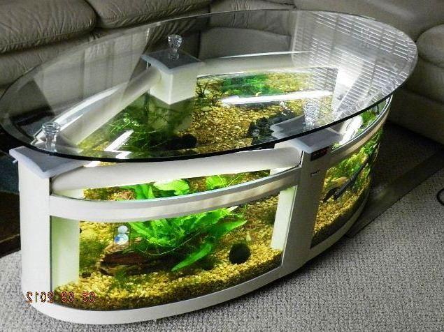 model meja ruang tamu aquarium unik