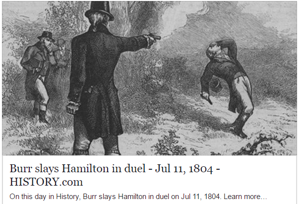 Burr slays Hamilton in duel