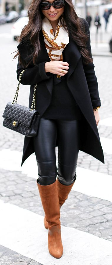 fall fashionable outfit | black coat + scarf + sweater + bag + leggings + brown high boots