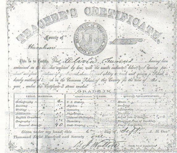 Olivia Ganus Teacher's certificate, Haralson County, Georgia