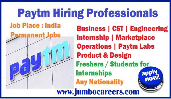 Paytm jobs with internship, Permanent jobs in India, Paytm job vacancies,