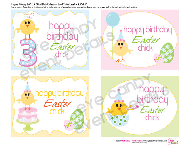 easter birthday food tents, easter birthday drink labels, easter birthday tent cards