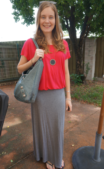 Slouchy casual SAHM style boxy tee grey marle jersey maxi skirt outfit