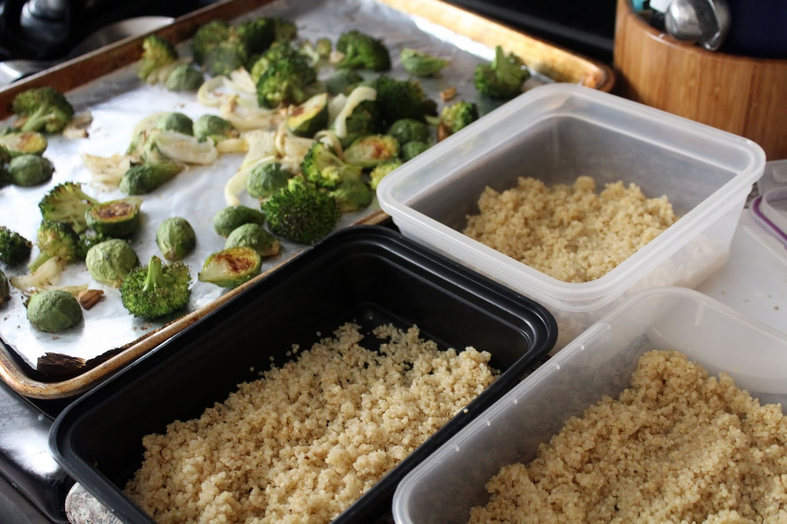 Quinoa Lunch Bowls with Broccoli, Brussels and Tahini Dressing