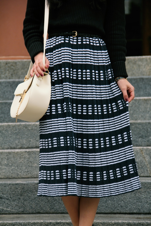 j. crew sweater skirt striped midi navy