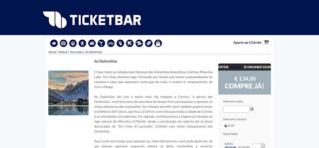 Ticketbar para ingressos para o tour pelas cidades das Dolomitas