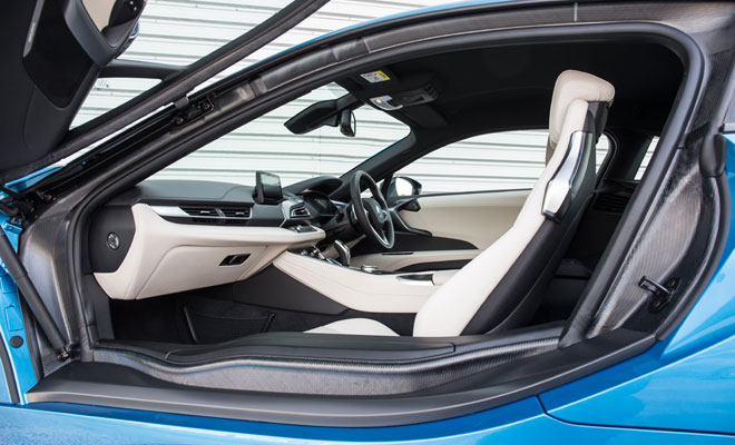 BMW i8 interior though the open door
