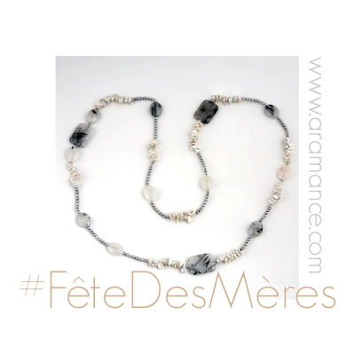 Collier sautoir pierres fines