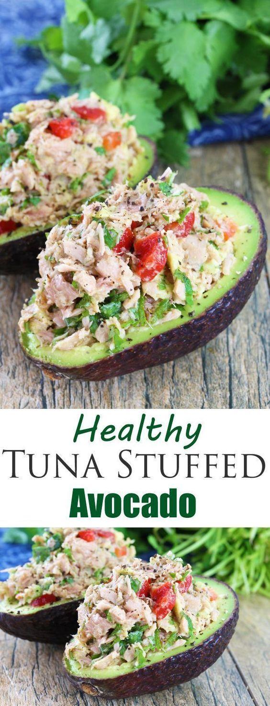 HEALTHY TUNA STUFFED AVOCADO #tuna #avocado #tunarecipes #tunastuffedavocado #healthy #healthyrecipes #healthyfood