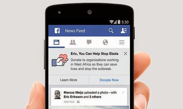 Facebook acrescentando botão Doações para ajudar a combater o Ebola