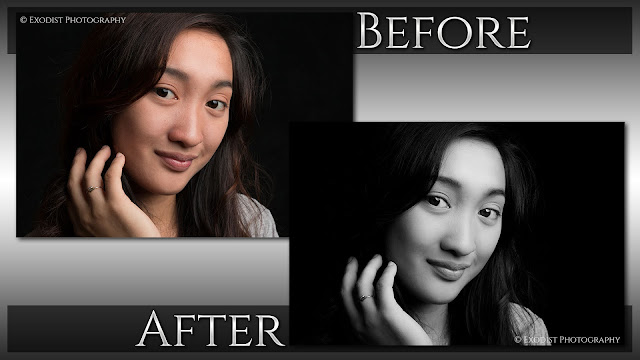 Low Key High Contrast Black & White Portrait Retouching - Before & After, © Exodist Photography, All Rights Reserved