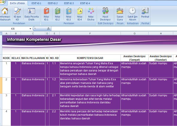 Download Aplikasi Olah Nilai Kurikulum 2013 Lengkap Dengan KI KD, Ekstrakurikuler, dll
