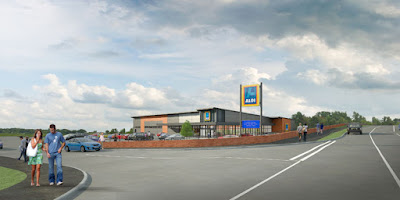 An artist's impression showing the proposed Aldi store on Bridge Street, Brigg - see Nigel Fisher's Brigg Blog, January 2019