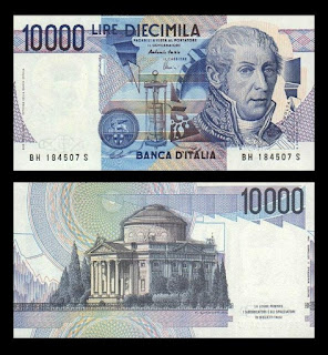Italy's 10,000 lire note used to have an image of Volta on the front and the Tempio Voltiano on the reverse