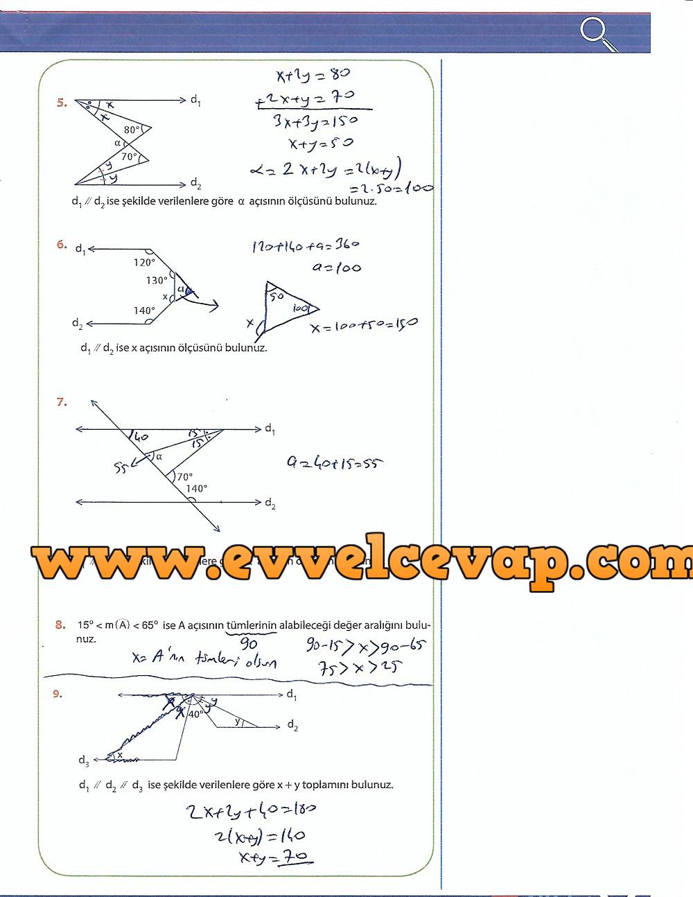 9.Sınıf Matematik MEB Yayınları Ders Kitabı 205.Sayfa Cevapları Üçgenler