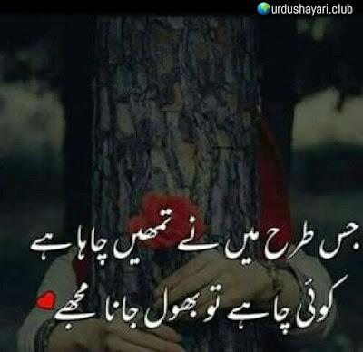 Jis Tarhan Mein Tumhe Chaha Hai..  Koi Chahe To Bhool Jana Mujhe..!!  #urdushayari #poetry