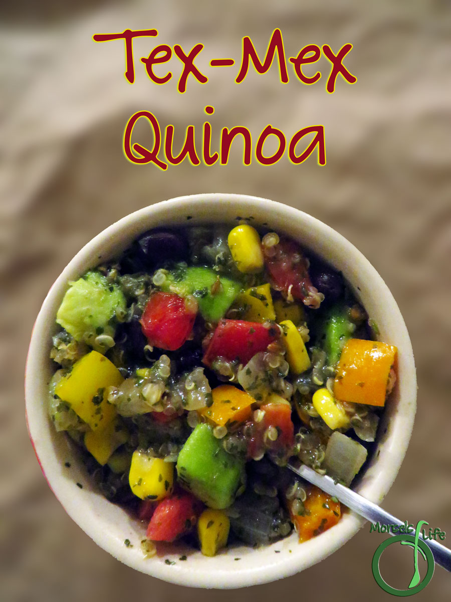 Morsels of Life - Tex-Mex Quinoa - Skip the tortilla and mix your burrito fillings into a protein-rich quinoa. Top with some grated Cotija cheese for even more yumminess!