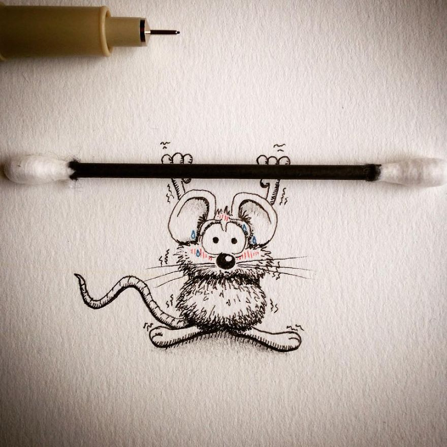 14-Weight-Lifting-Loïc-Apreda-apredart-Drawings-of-Rikiki-the-Mouse-and-his-Famous-Friends-www-designstack-co