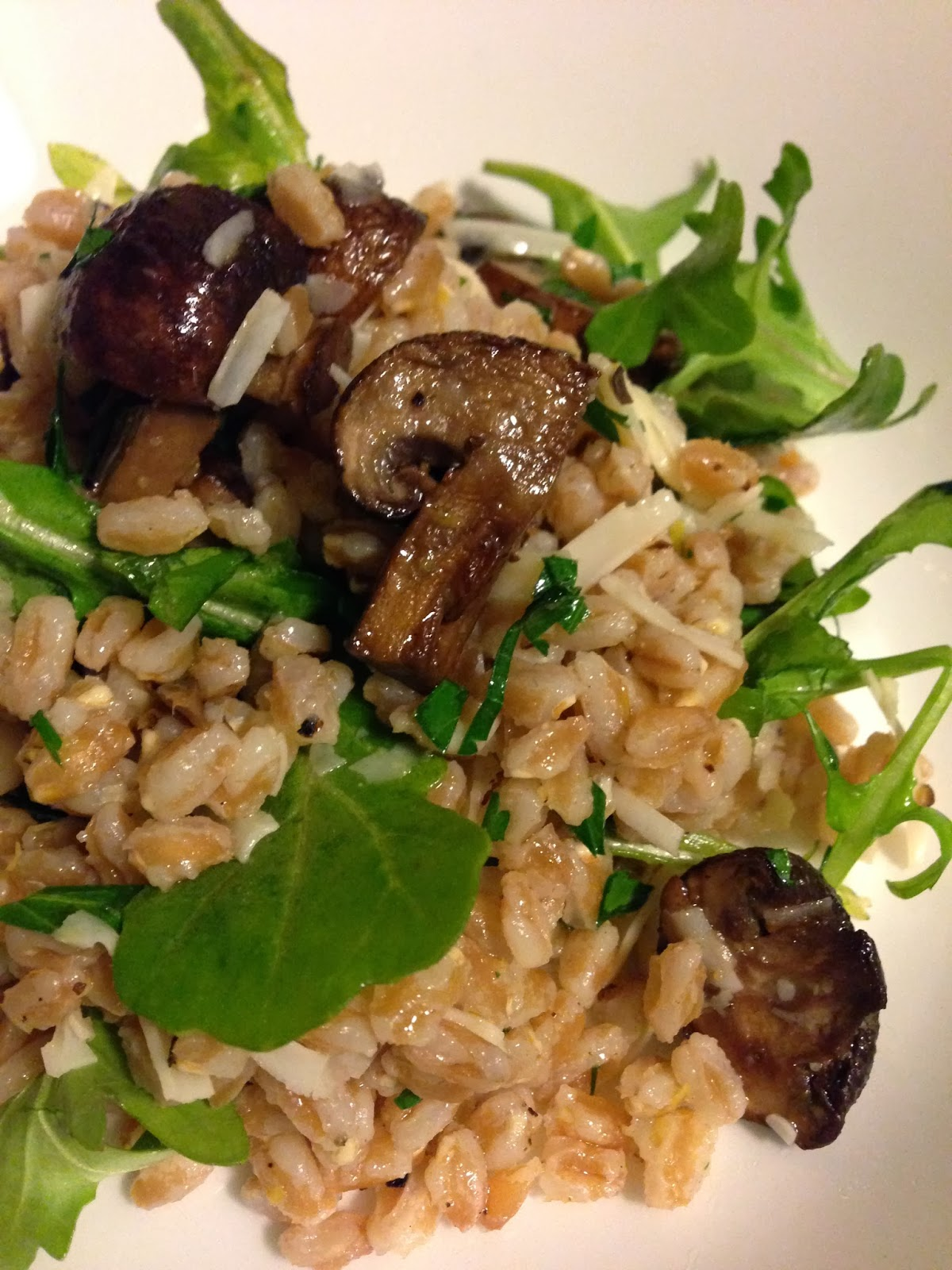 Farro Salad with Roasted Crimini Mushrooms, Arugula, and Parmesan