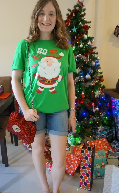 Summer festive Christmas Eve outfit Santa glitter tee and shorts metallic bag | Away From Blue