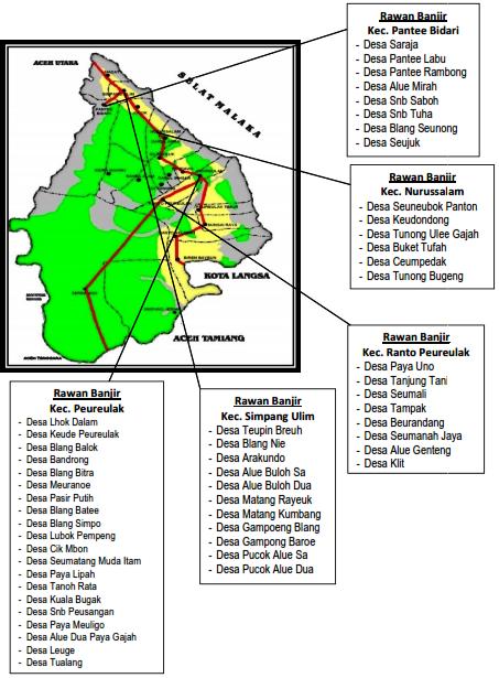 Peta Daerah Rawan Bencana Kabupaten Aceh Timur