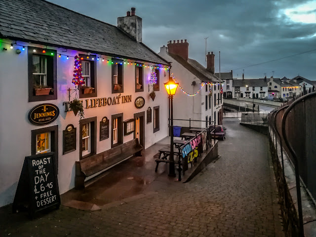 Photo of Christmas lights on The Lifeboat Inn at Maryport