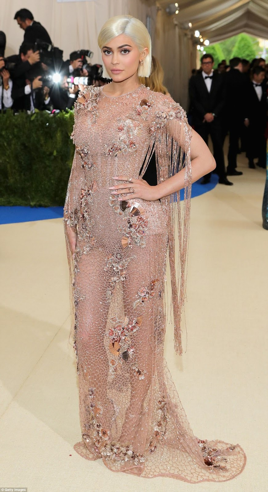 Kylie Jenner wears sheer embellished Versace to the 2017 Met Gala