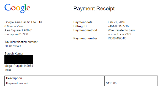 Adsense Payment Proof 2016