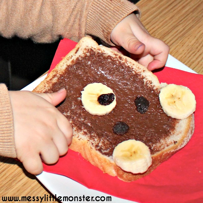 Teddy bears picnic food idea.  Teddy bear bread or toast is a fun, no cook snack for kids.  A simple food idea kids can cook themselves. Great for a teddy bears picnic or after school snack. A fun activity for a bear theme and to go with the book 'Time for Sleep' by Denise Fleming.
