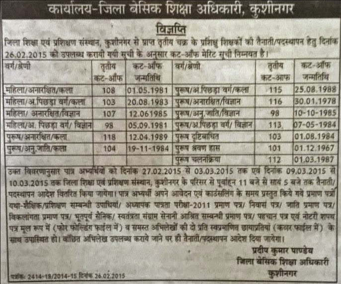 kushinagar 3rd cut off list