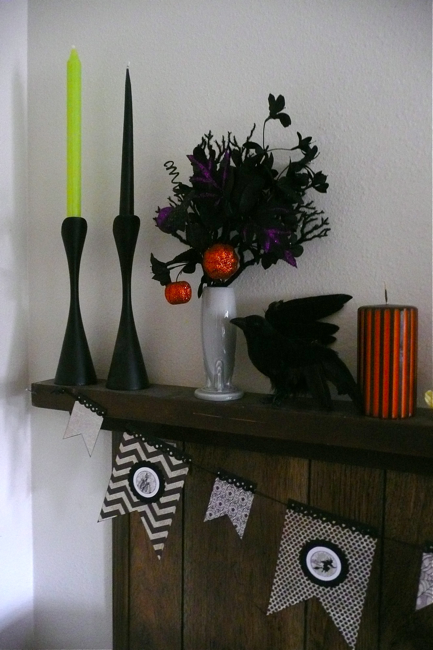 style, design, mantle, styled surface, surface, Halloween, My Mind's Eye garland, swedish candleholders, Pearl Grey Fiestaware