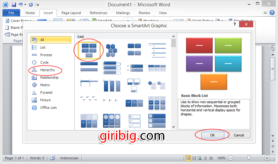 Cara membuat struktur Organisasi dengan cepat dan Mudah di Ms Word