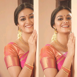 Keerthy Suresh in Saree with Cute and Chubby Cheeks Smile in Pandem Kodi 2