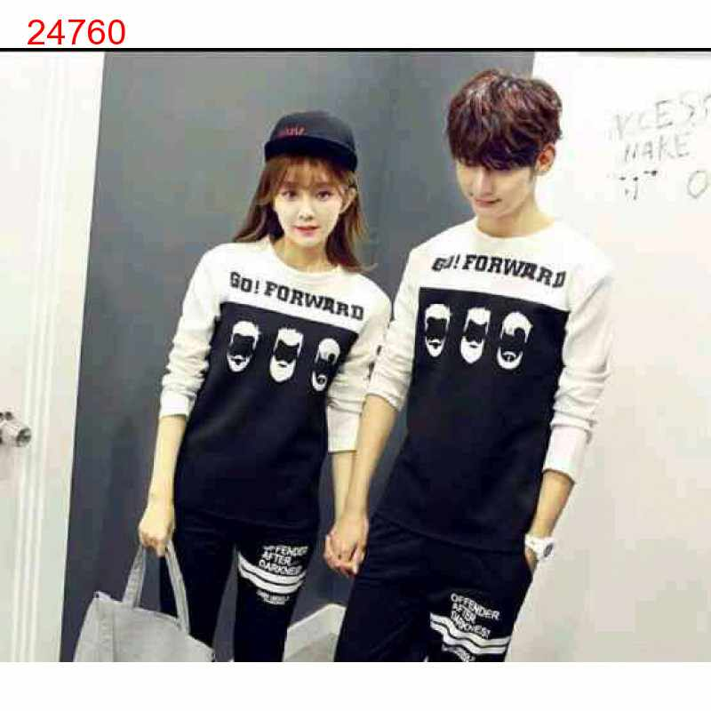 Jual Sweater Couple Sweater Go Forward White Black - 24760