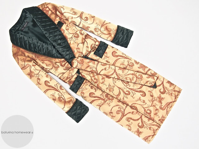 Men's gold silk dressing gown paisley robe quilted smoking jacket