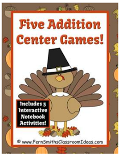 Fern Smith's Classroom Ideas Thanksgiving Addition Center Game and Interactive Notebook Activities