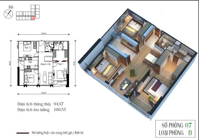 Thiết kế căn 07 toà CT4 diện tích 94,87m2