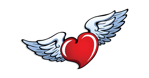 Heart With Angel Wings Symbols Emoticons