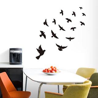 Hiasan dinding ruang tamu minimalis, wall sticker motif burung