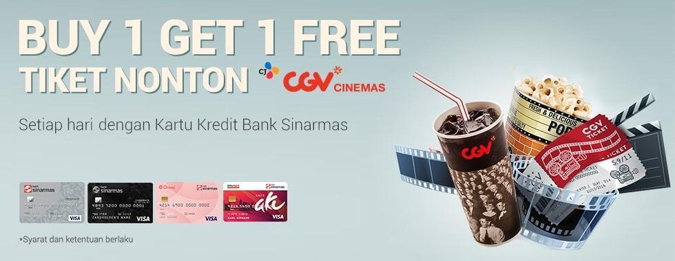 #CGV - Promo Buy 1 Get 1 Free Tiket Nonton Pakai Kartu Kredit Bank Sinarmas