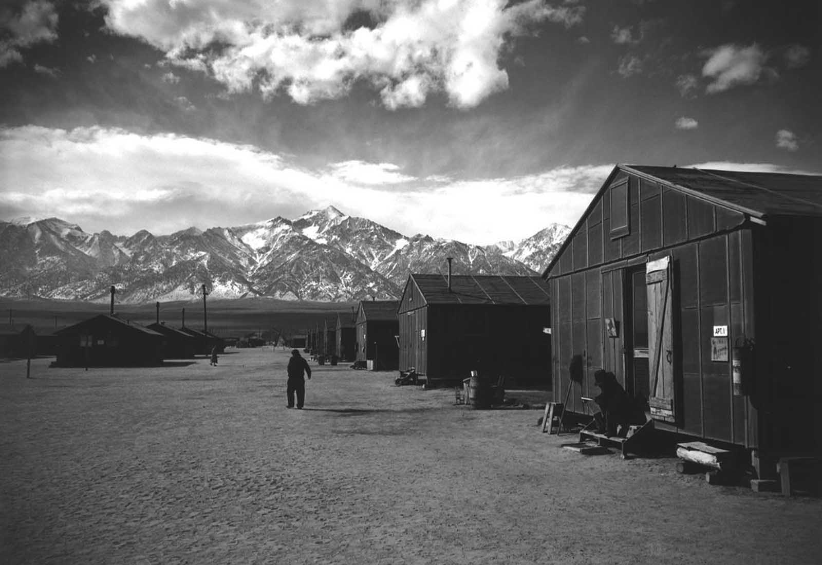 A street scene at the Manzanar Relocation Center, winter, 1943.