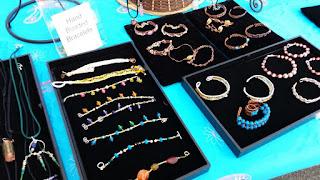 pendants on rattail, macrame bracelts, beaded glass bottles, crystal