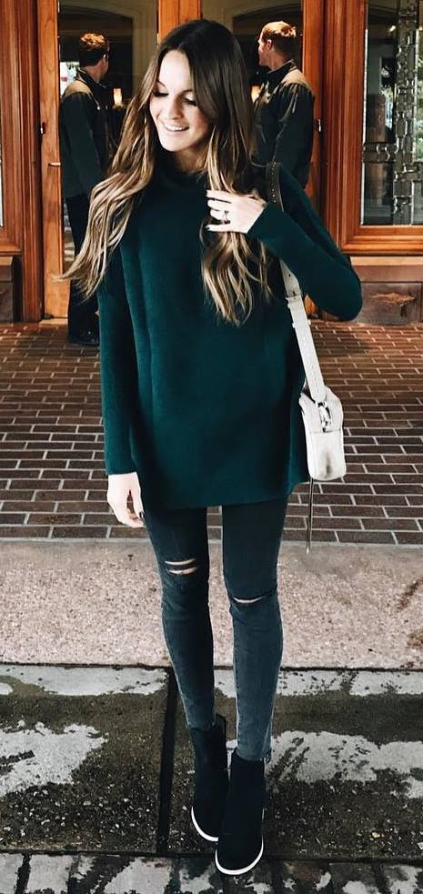 fall fashion trends / sweater + bag + skinnies + boots