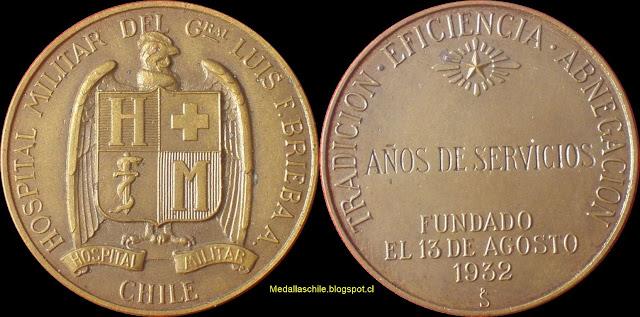 Medalla Hospital Militar Por Años de Servicio 1932