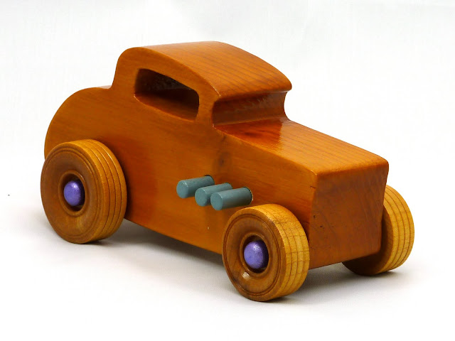 Right Side Front - Wooden Toy Car - Hot Rod Freaky Ford - 32 Deuce Coupe - Pine - Amber Shellac - Metallic Purple Hubs - Gray Exhaust