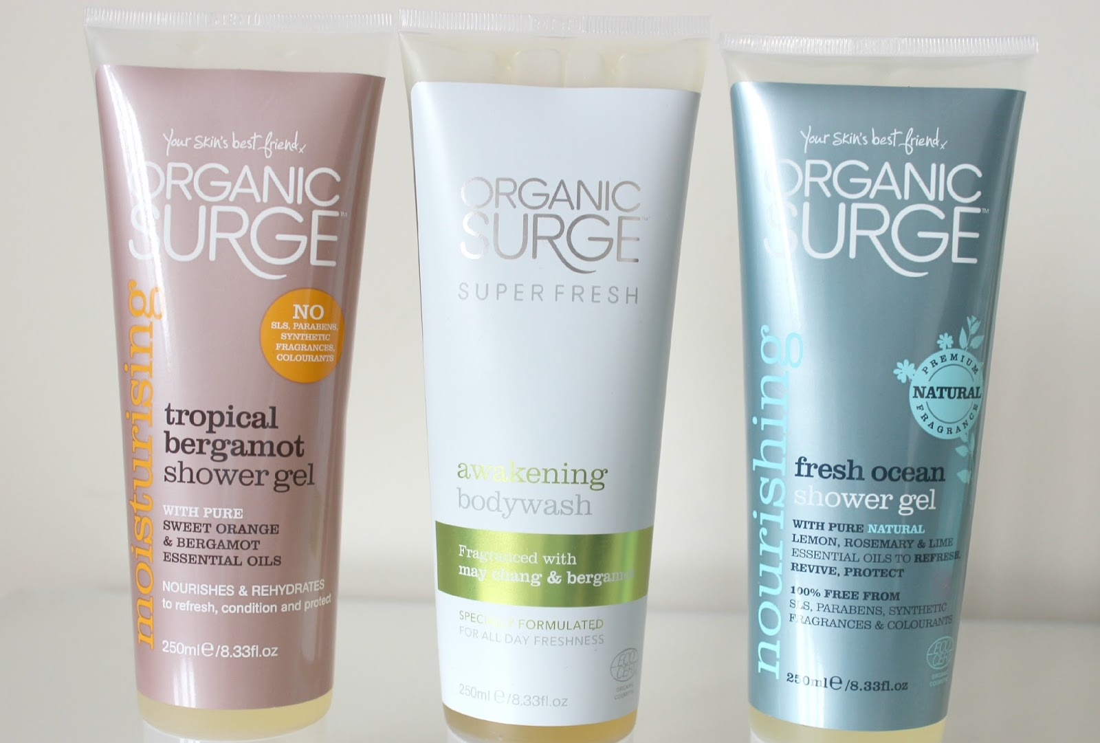 A picture of Organic Surge Moisturising Tropical Bergamot Shower Gel, Awakening Super Fresh Body Wash and Nourishing Fresh Ocean Shower Gel