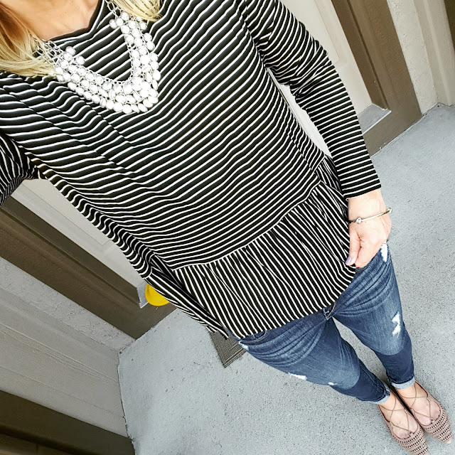 Wear It For Less | Old Navy Striped Peplum + Express Jeans + #TargetStyle Lace-Up Flats, target, outfit inspiration