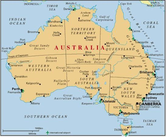 Map of Australia with Cities