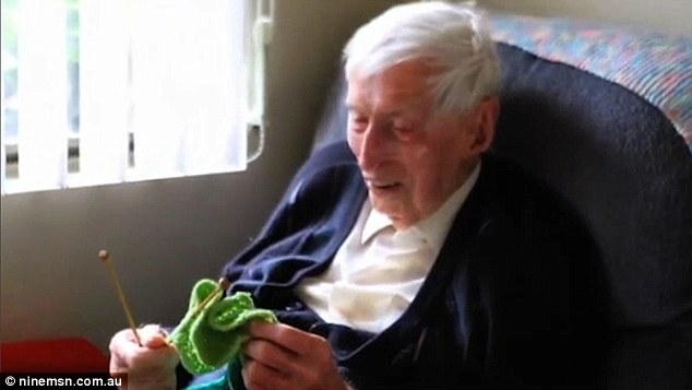 "109-year-old Australian, Alfred ""Alfie"" Date, demonstrating how he knits tiny sweaters for penguins, 2015. No Kicking Penguins and other stories about penguins. marchmatron.com"