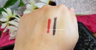 Swisscare - (da sx a dx) Matita labbra rossa, Matita nera occhi, Matitone ombretto oro - swatches